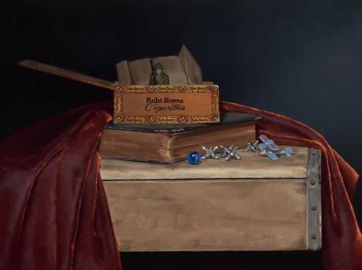 """Honourable Mention: Nancy Calder: """"On Guard"""", 12"""" x 16"""", oil on linen panel"""